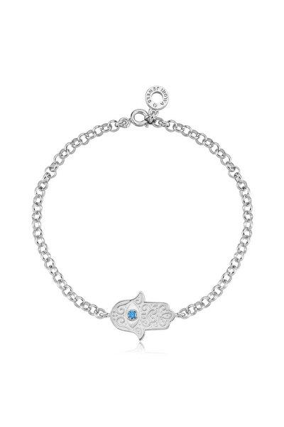 Kadın Gümüş Nazar Gözlü Beyaz Fatma Ana Eli Swarovski Zirkon Mavi Taşlı Gümüş Bileklik
