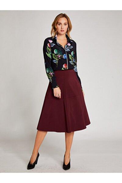 Kadın Siyah Pembe Çiçek Desenli Gömlek 9107-0036