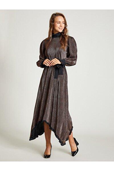 Kadın Bakır Simli Rahat Kesim Elbise 9209-0025