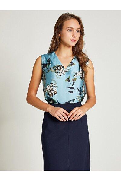 Kadın Mavi V Yaka Çiçek Desenli Bluz