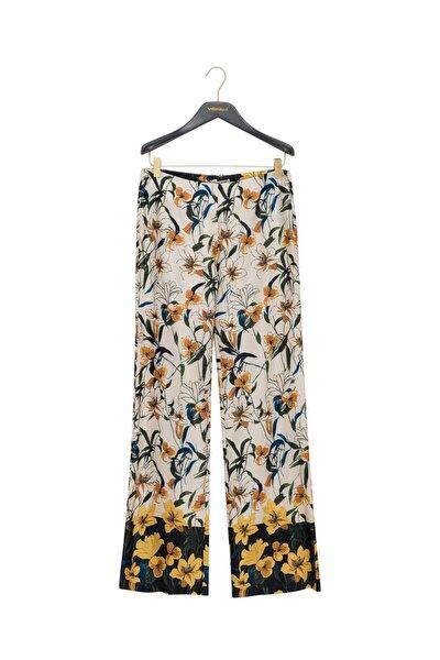 Kadın Ekru Çiçek Desenli Rahat Kesim Pantolon
