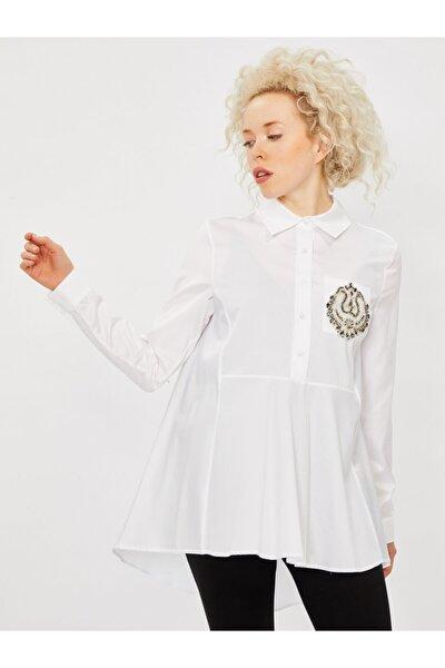 Kadın Beyaz Taş Detaylı Pamuk Gömlek