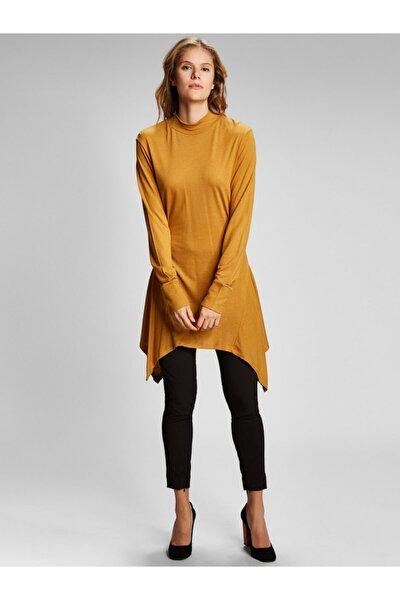 Kadın Hardal Sarısı Asimetrik Kesim Yünlü Basic Tunik 6230-0002