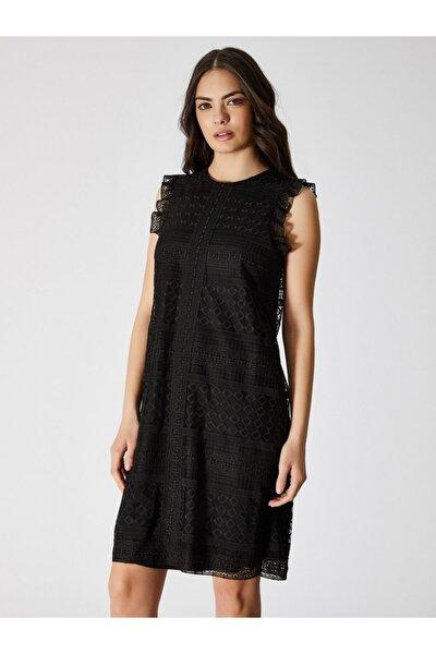 Kadın Siyah Kolsuz Dantel Elbise 9109-0083