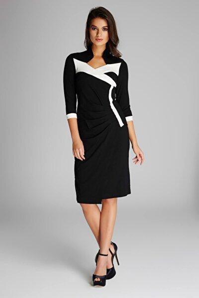 Kadın Siyah Büzgü Detaylı Elbise