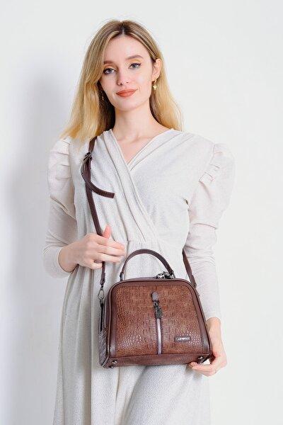 Kadın Kahverengi  Timsah Derisi Görünümlü El Ve Omuz Çanta