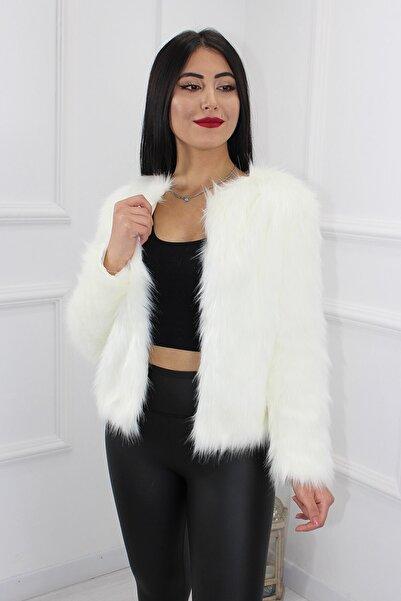 Kadın Beyaz Kısa Kürk Ceket
