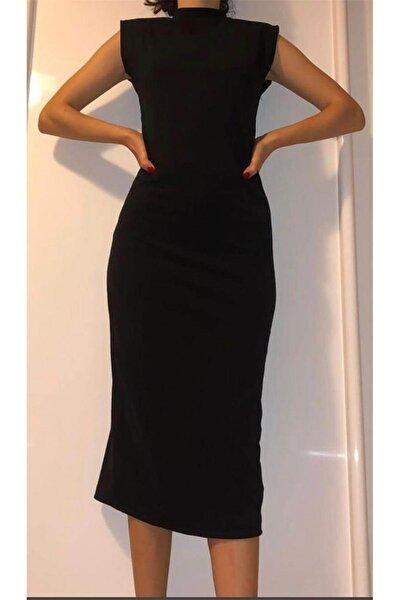 Kadın Siyah Dik Yaka Vatkalı Kalem Elbise