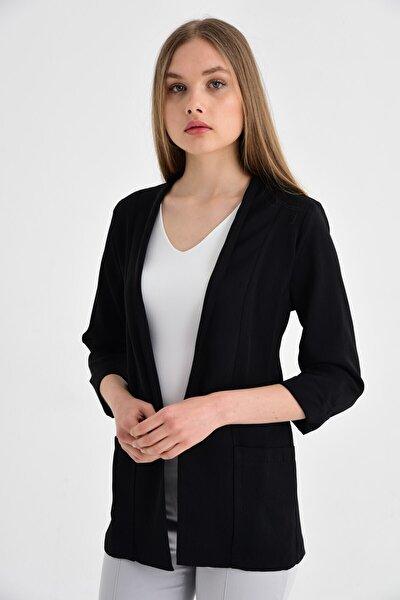 Kadın Siyah Capri Kol Cepli Ceket