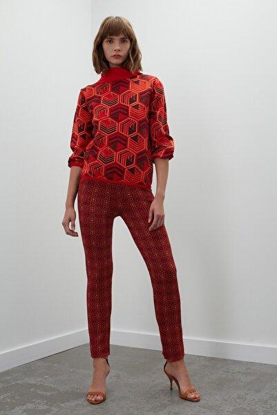 Kadın Kırmızı Multi Desenli Cepli Multi Triko Pantolon