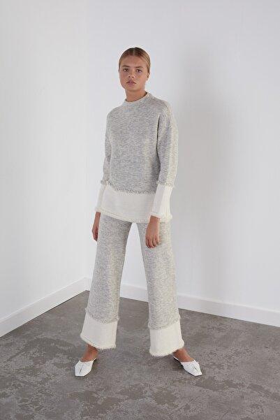Kadın Gri Beli Lastikli Triko Pantolon