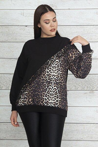 Kadın Siyah Leopar Garnili Dantel Detaylı Sweatshirt 65N20524