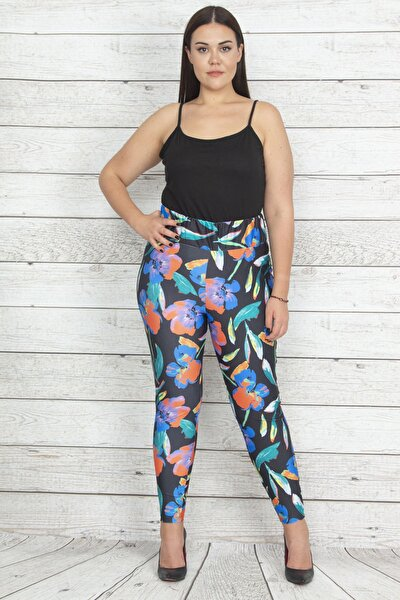 Kadın Renkli Beli Lastikli Desenli Tayt  Pantolon 65N20403