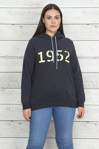 Kadın Antrasit Kapüşonlu İçi Şardonlu Sweatshirt 65N20471