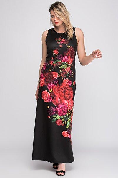 Kadın Siyah Çiçek Desenli Uzun Elbise 65N20174