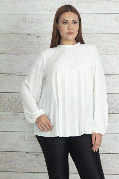 Kadın Kemik Piliseli Kol Ağzı Lastik Detaylı Bluz 65N20337