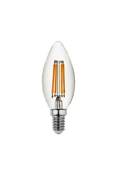 Erd35 Düz Mum Edison Flamanlı Rustik Led Ampul 8 Watt