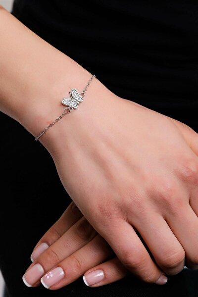 Kadın Zirkon Taşlı Kelebek Simgeli Bileklik