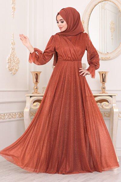 Kadın Kiremit Tesettürlü Abiye Elbiseler - Tesettür Abiye Elbise 22202krmt