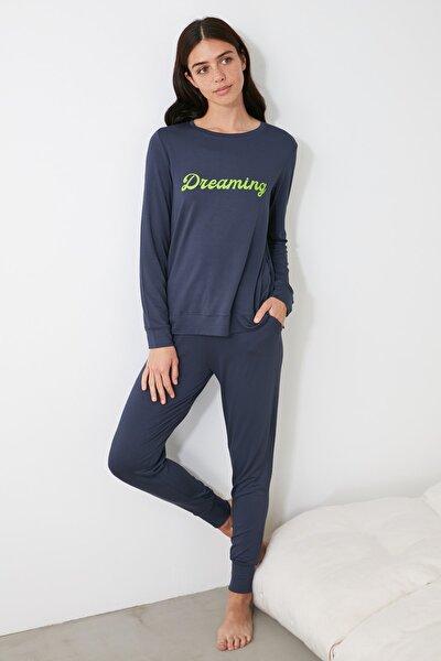 Antrasit Jogger Örme Pijama Takımı THMAW21PT0057