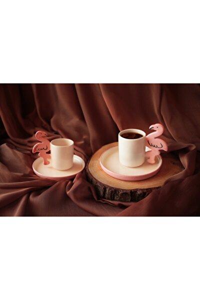 2'li Flamingo Figürlü El Yapımı Seramik Kahve Fincanı-2