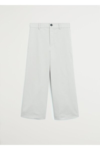 Kadın Açık/Pastel Gri Relaxed Kesim Kısa Paçalı Pantolon 67005921