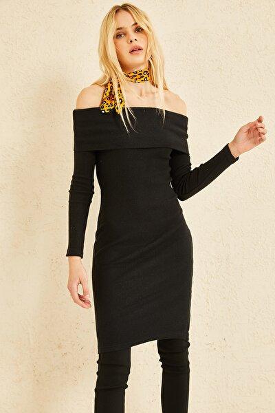 Kadın Siyah Madonna Yaka Triko Elbise