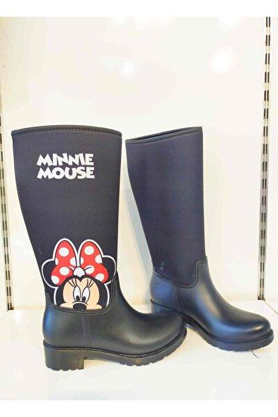 Anne Ve Kız Siyah Minnie Mouse Baskılı Yüksek Topuk Yağmur Çizmesi Kombini