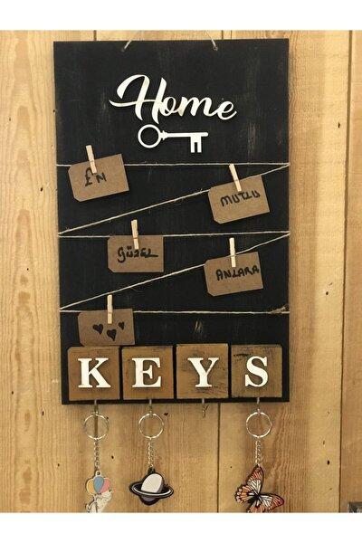 Home Keys El Yapımı Ahşap Anahtarlık Askısı Pano Anahtarlık, Siyah Notluk