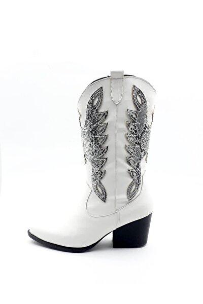 Kadın Beyaz Kovboy Çizme