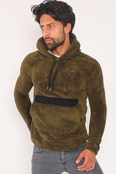 Erkek Yeşil Peluş Kanguru Cepli Kapüşonlu Sweatshirt