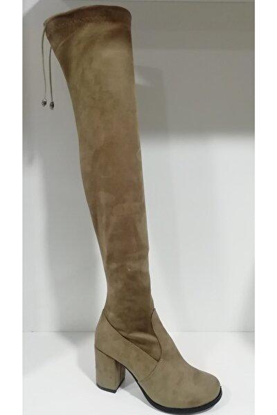 Kadın Vizon Dizüstü Streç Çizme