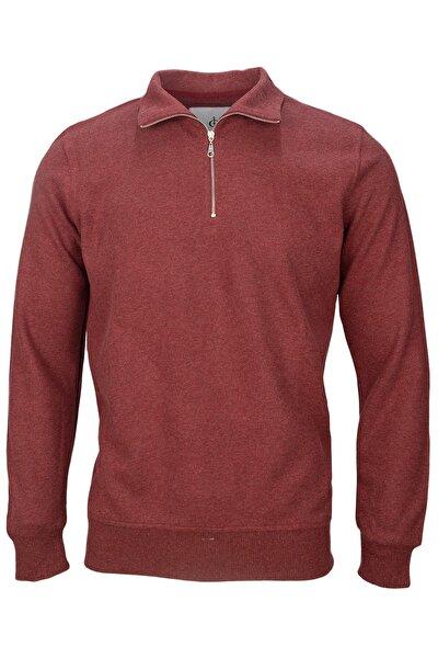 Unisex Bordo Fırçalı Selanik Yarım Fermuarlı Sweatshirt