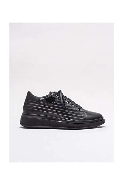 Siyah Deri Erkek Spor Ayakkabı