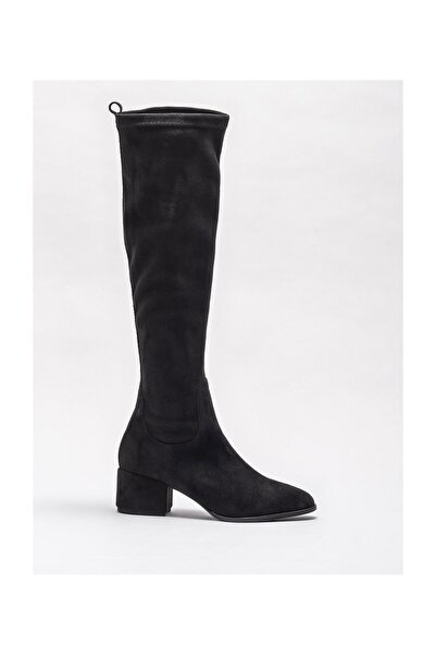 Siyah Kadın Orta Topuk Çizme