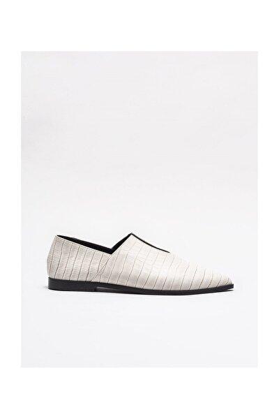 Ekru Deri Kadın Günlük Ayakkabı