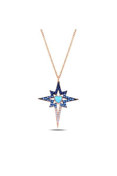 Gümüş Zirkon Ve Opal Taşlı Kuzey Yıldızı Kolye 925 Ayar