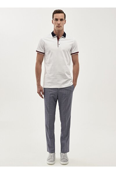 Erkek Mavi Slim Fit Desenli Klasik Pantolon 4A0118200025