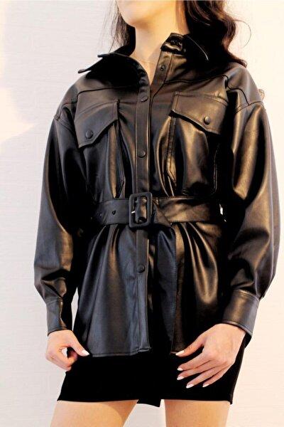 Kadın Siyah Kemerli Deri Gömlek-qz