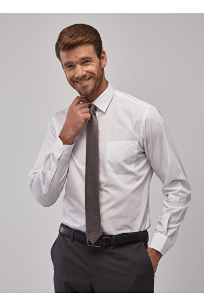 2 Al Sepette Ek %15 İndirim Beyaz Regular Fit Klasik Gömlek