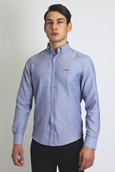 Erkek Mavi Pamuk Gömlek