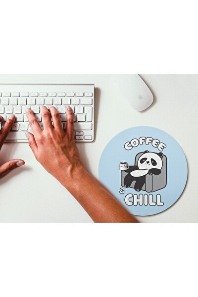 Kahve Molası Panda Yuvarlak Mouse Pad