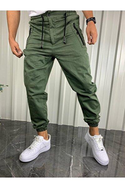 Erkek  Haki Yeşil Fermuarlı Cepli Jogger Pantolon