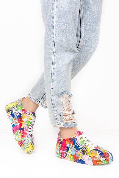 Kadın Beyaz Hakiki Deri Renkli Baskılı 41 Numara Ayakkabı