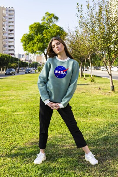 Kadın Yeşil Nasa Baskılı Sweatshirt