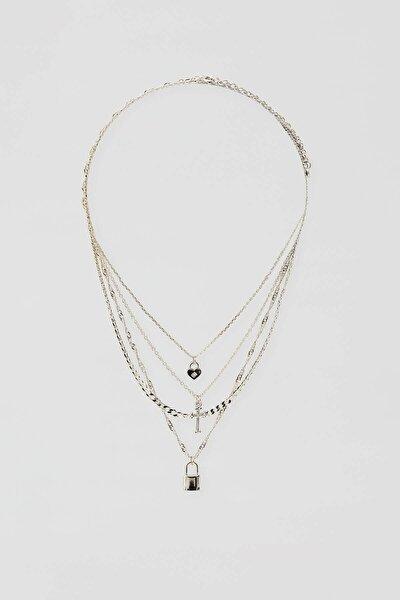 Kadın Gümüş 4'Lü Asma Kilit Ve Kalp Uçlu Kolye Seti 04991307