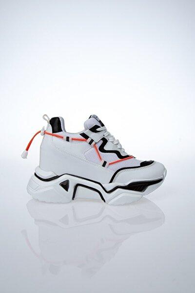 PC-30192 Beyaz-Siyah Kadın Spor Ayakkabı