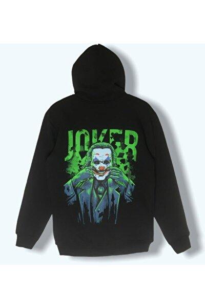 Unisex Siyah Joker Baskılı Sweatshirt