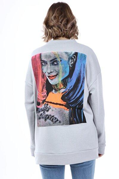 Kadın Gri Harley Quinn Baskılı Oversize Sweatshirt