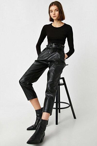 Kadın Siyah Deri Görünümlü Yüksek Bel Kemerli Pantolon 1KAL48060IW